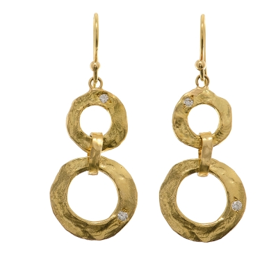 New Moon Hammered Gold Earrings Two Tier Nme 18k 2t