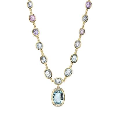 Paraiba & Aquamarine 18K Necklace - #Paraiba & Aquamarine Necklace