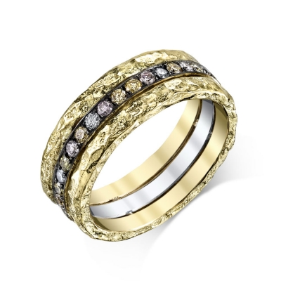 Magic Fancy Diamonds and Black Rhodium Ring - #Magic Fancy Diamonds and Black Rhodium Ring